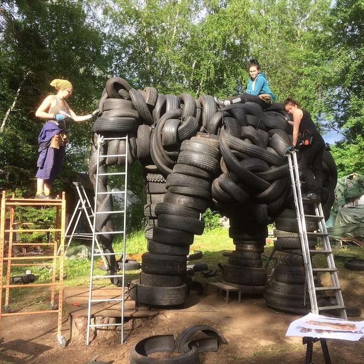 Recycled Tire Sculptures by Villu Jaanisoo