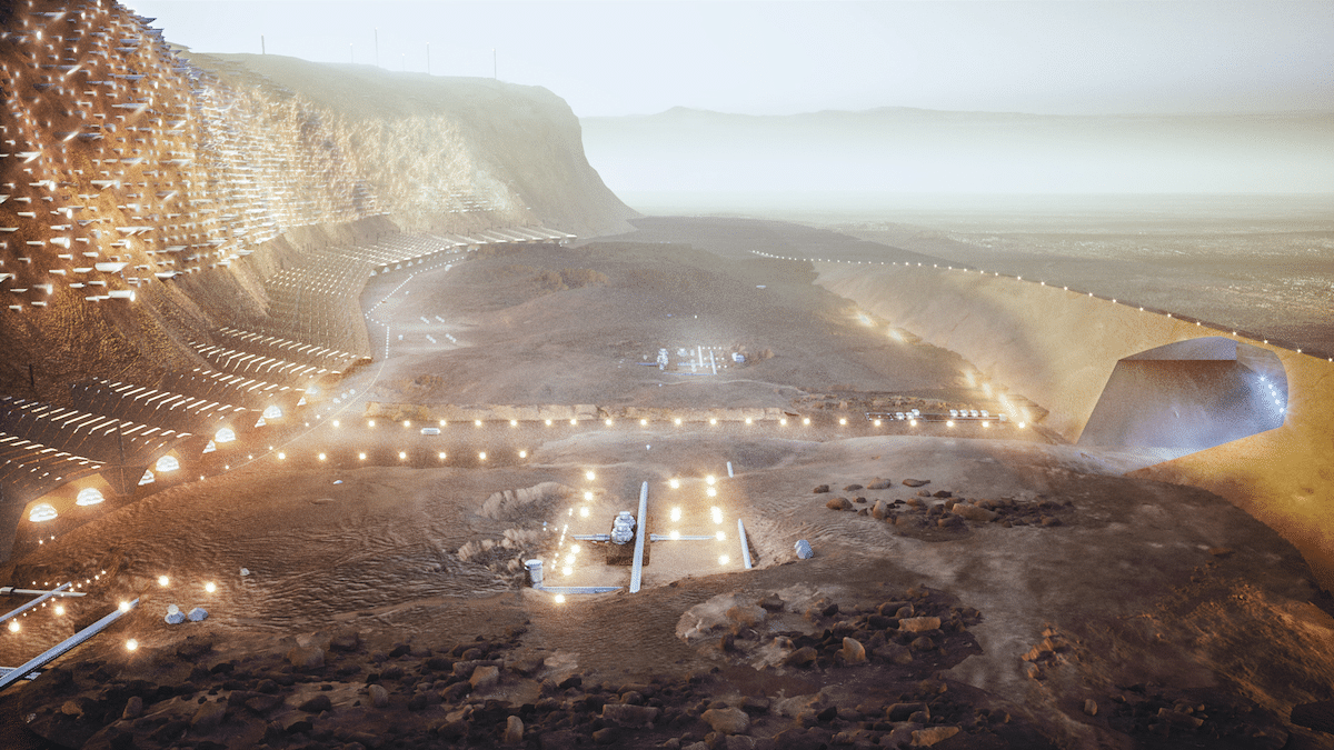 Aerial of Nuwa, a Mars City for One Million People by ABIBOO Studios