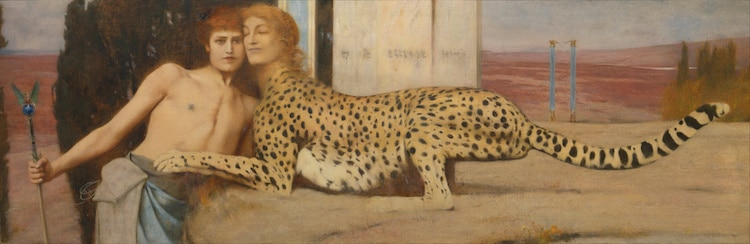 Caresses Painting by Fernand Khnopff