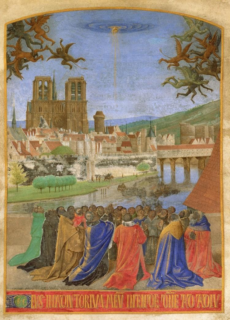 Jean Fouquet - La Main droite de Dieu protégeant les fidèles des démons
