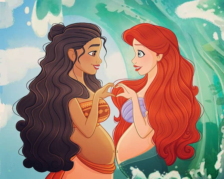 Pregnant Disney Women Illustrations by Anna Belenkiy