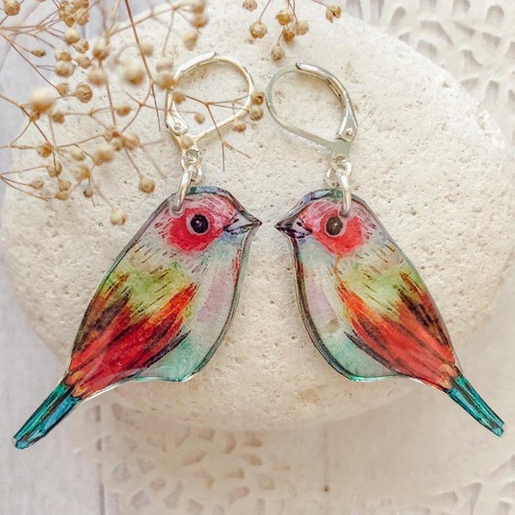 Bird Resin Earrings by Tomka Store
