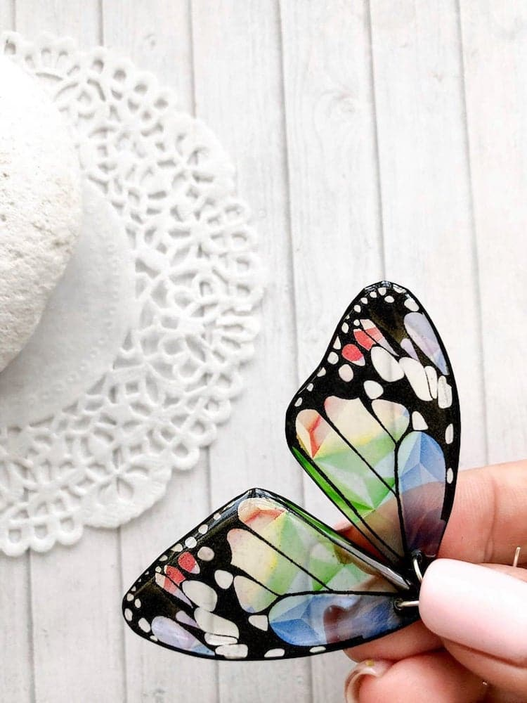 Butterfly Wing Resin Earrings by Tomka Store