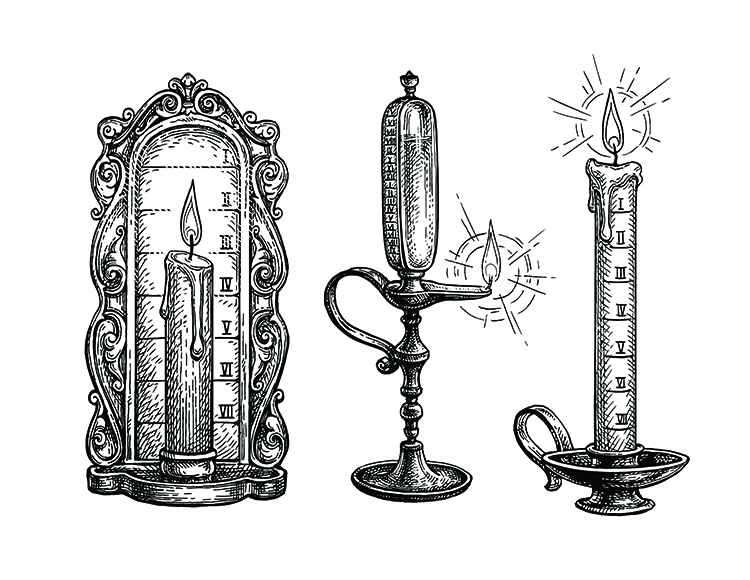 Candle and Oil Alarm Clocks as Historic Way of TellingTime