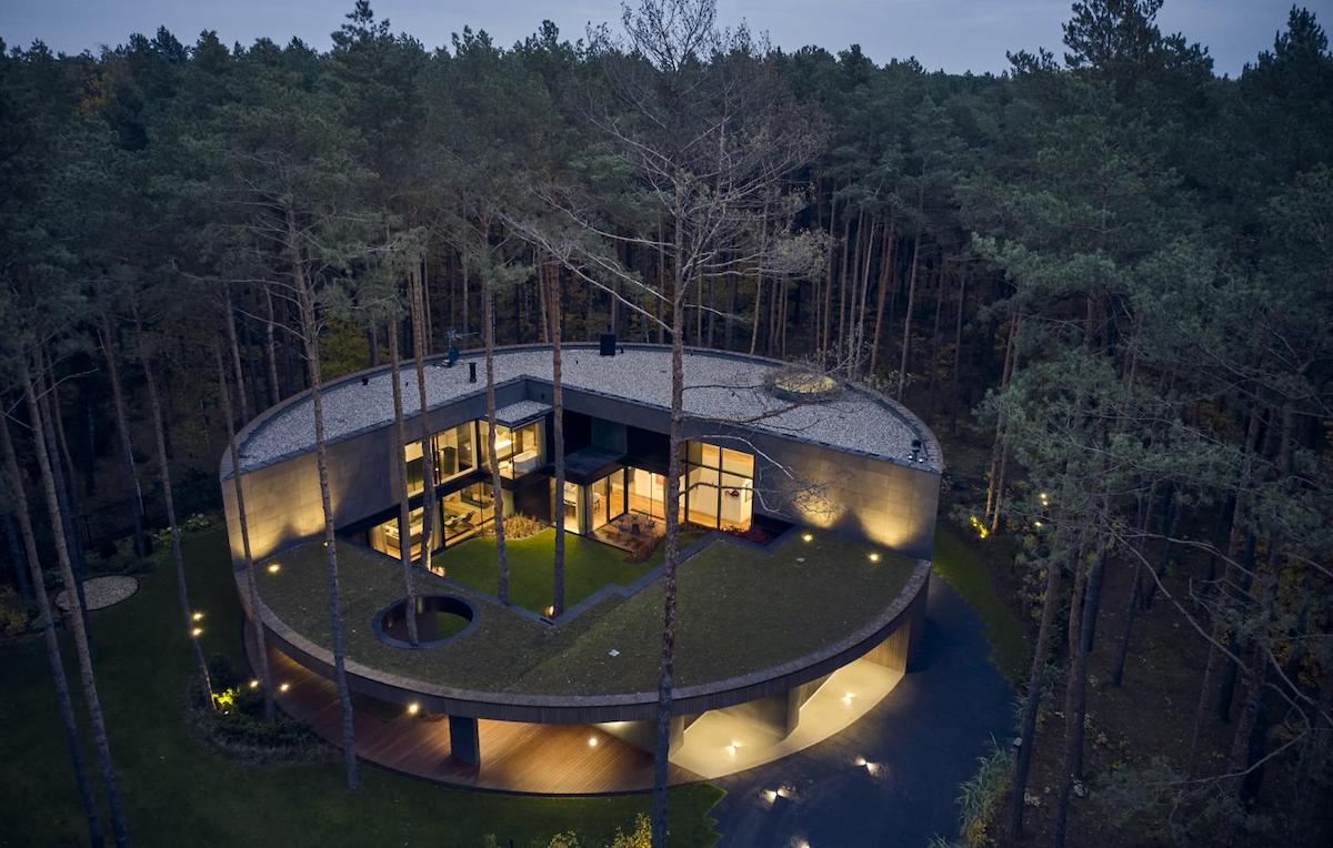 TCircular Home in the Woods