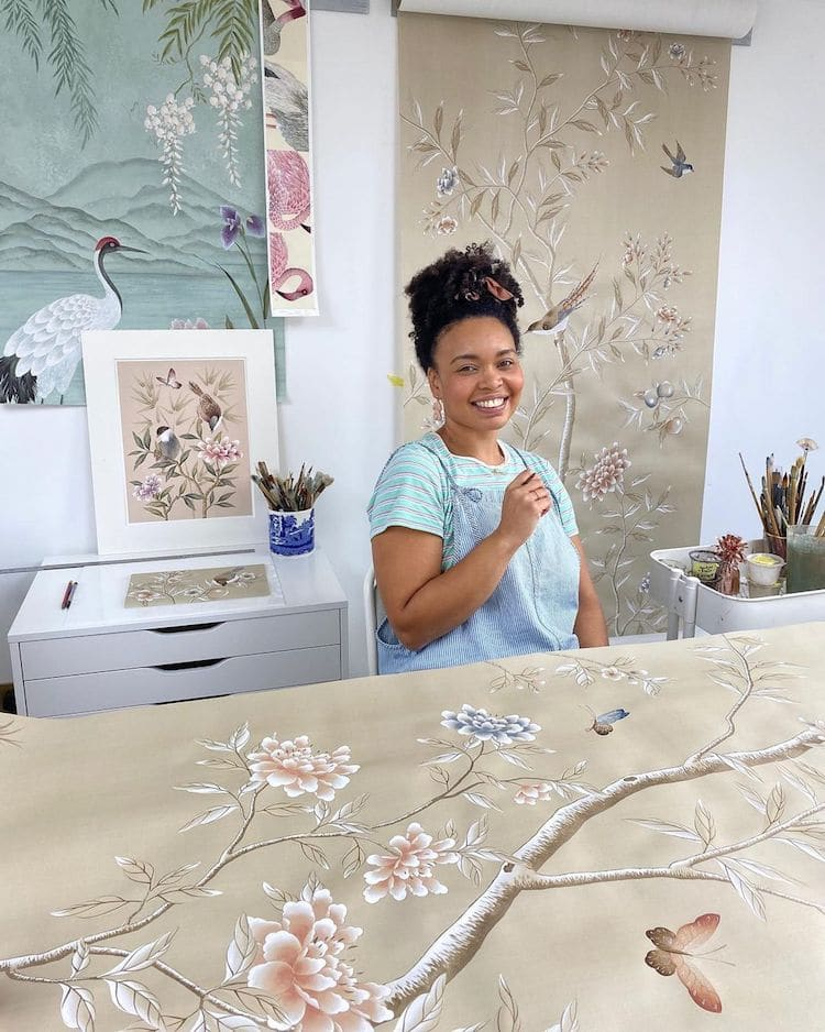 Botanical Watercolor Painting on Silk by Diane Hill