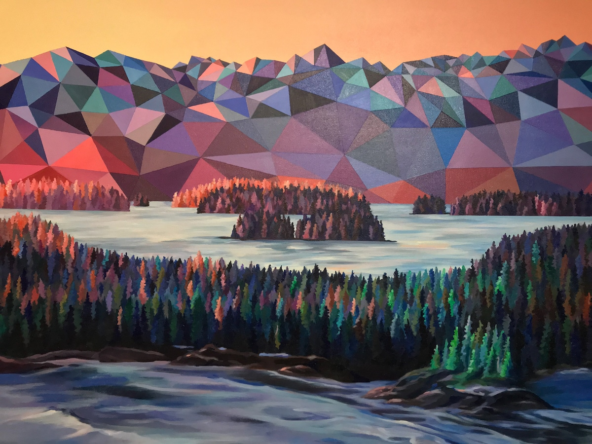 Polygon Art Within Painted Landscape