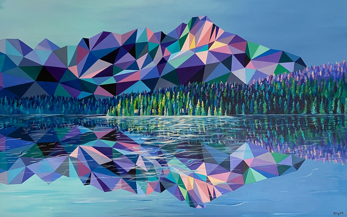 Veelhoekkunst binnen geschilderd landschap