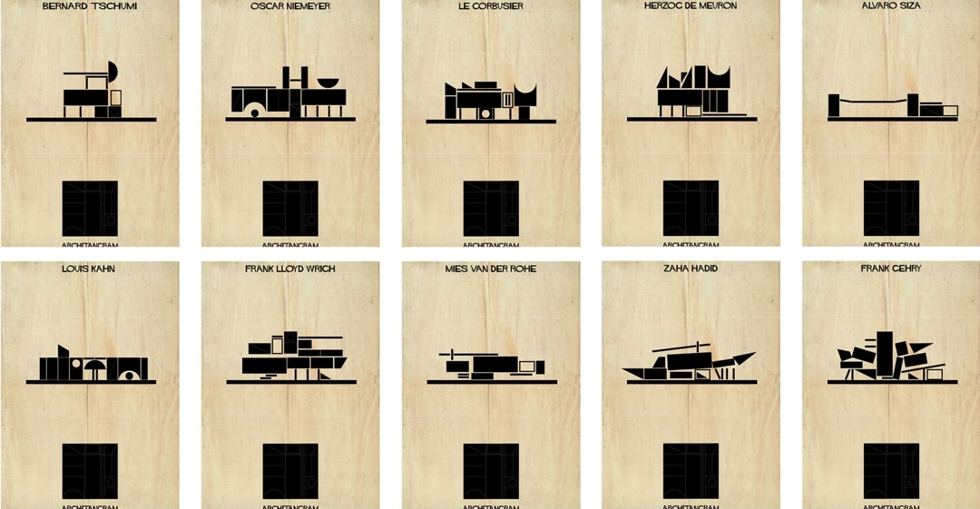 "Illustrator Creates ""Architect's Alphabet"" To Describe the Styles of Famous Architects"
