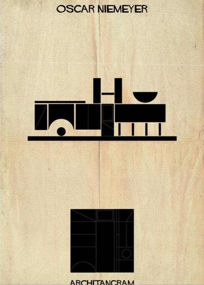 pièce du jeu Architangram représentant l'architecture d'Oscar Niemeyer