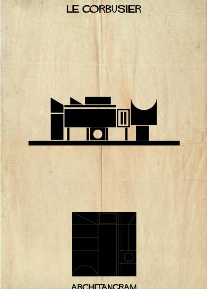 pièce du jeu Architangram représentant l'architecture de Le Corbusier