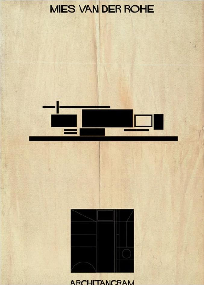 pièce du jeu Architangram représentant l'architecture de Mies Van Der Rohe