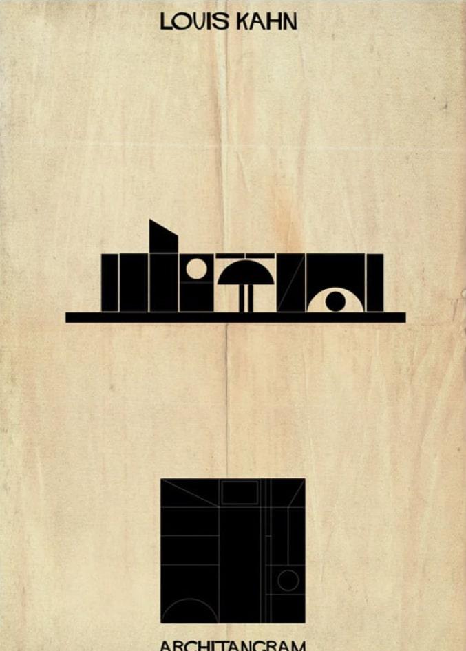 pièce du jeu Architangram représentant l'architecture de Louis Kahn
