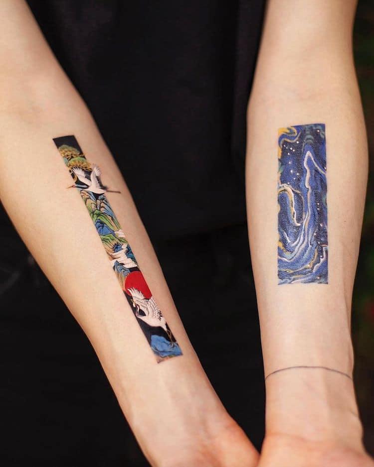 Tatuajes rectangulares por Franky Yang