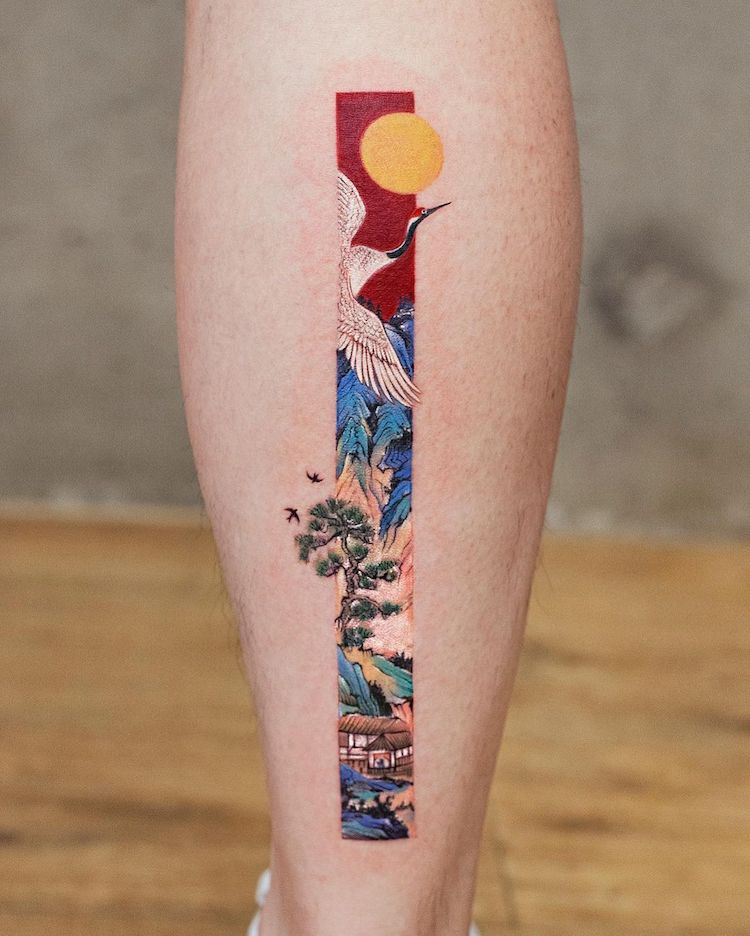 Tatuajes rectangulares inspirados en el arte tradicional chino por Franky Yang