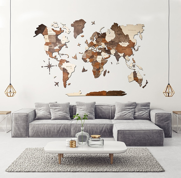 Giant Wooden World Map