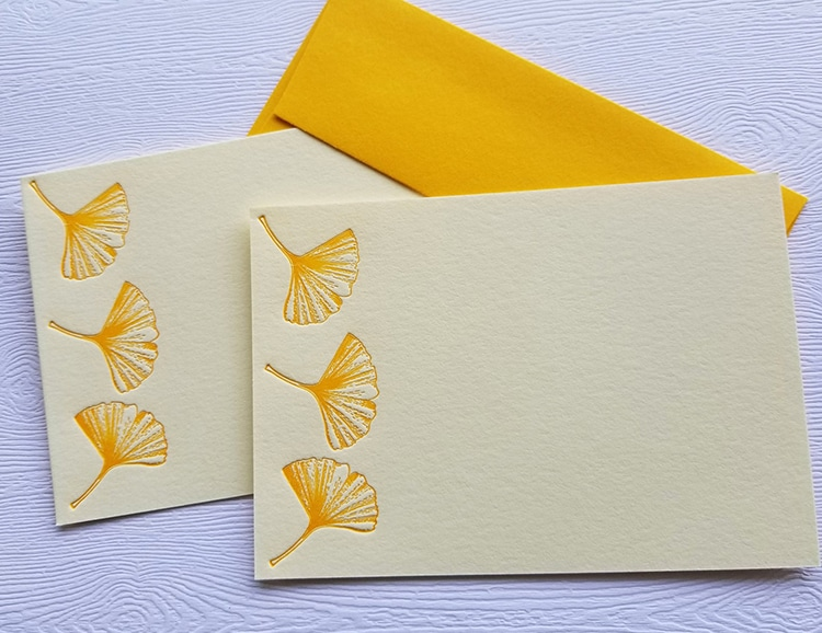Golden Ginko Card Stock Stationary