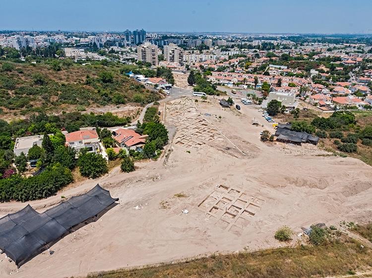 Foto del sitio arqueológico e Yavne donde fue hallado el mosaico