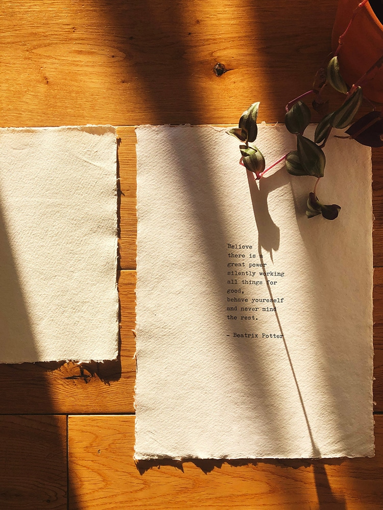 Indian Cotton Rag Typewriter Paper and Quote