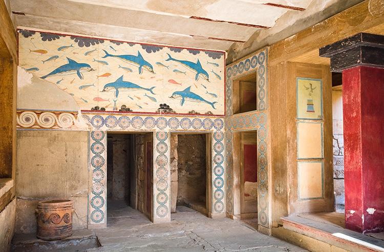 Fresco Palace Dolphin Wall by Minoans