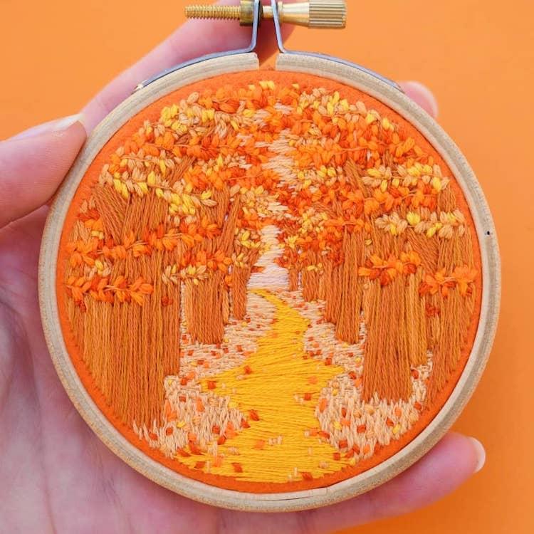 Paysages en broderies 3D par Victoria Rose Richards