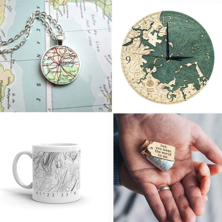 Map Gifts on Etsy to Commemorate Special Places