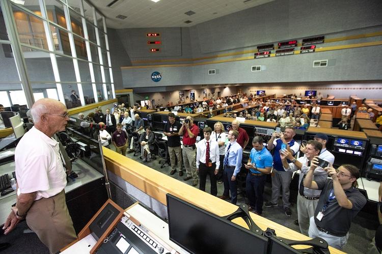 Michael Collins speaking to Artemis 1 Team Members