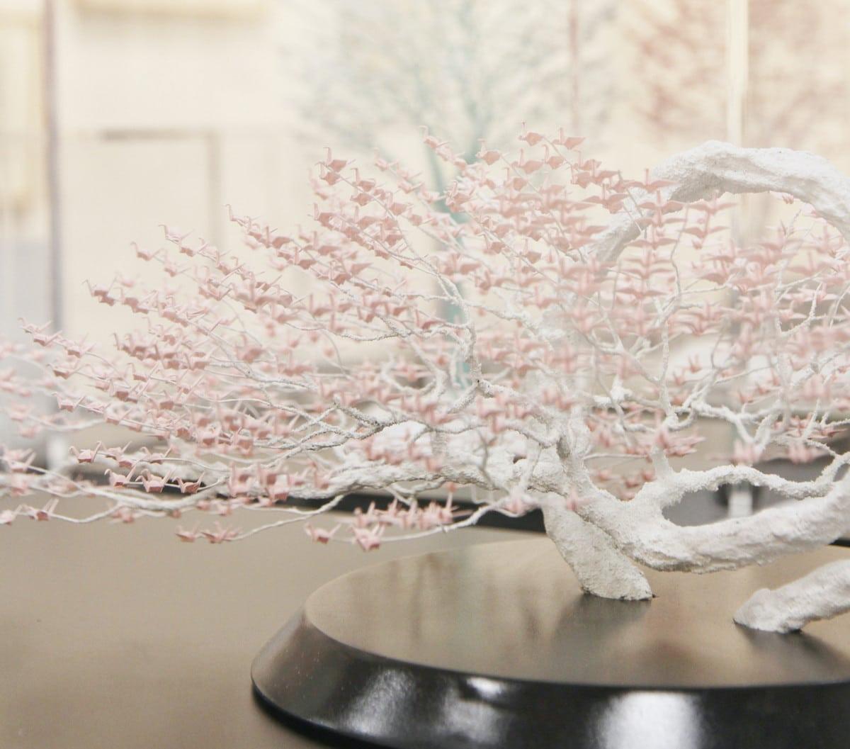 Naoki Onogawa Paper Origami Crane Tree Sculptures