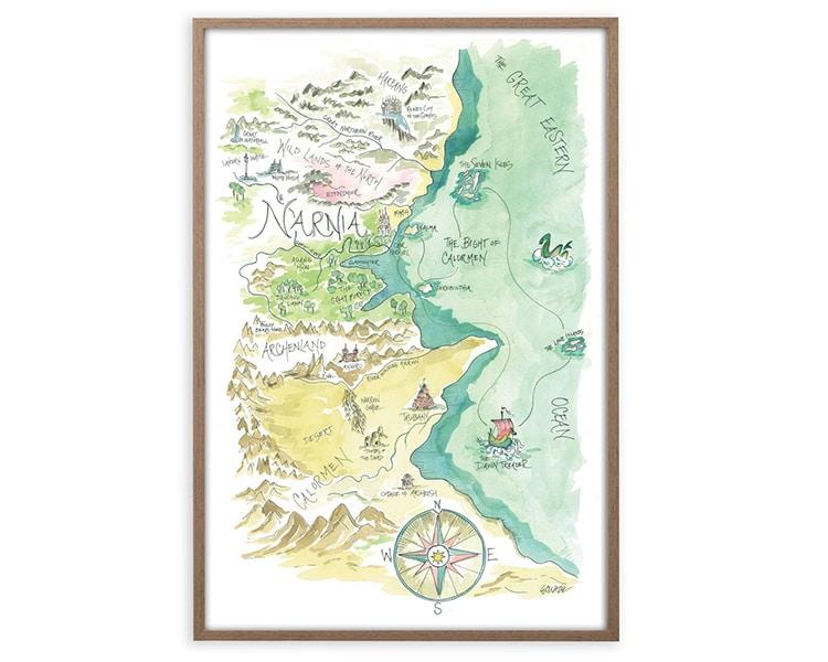 Fantasy Narnia Harry Potter Watercolor Map