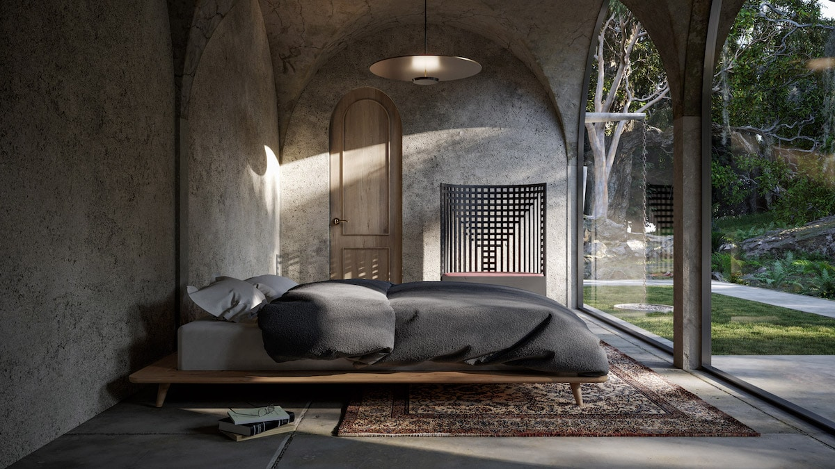 Home Concept With Concerete Pillars