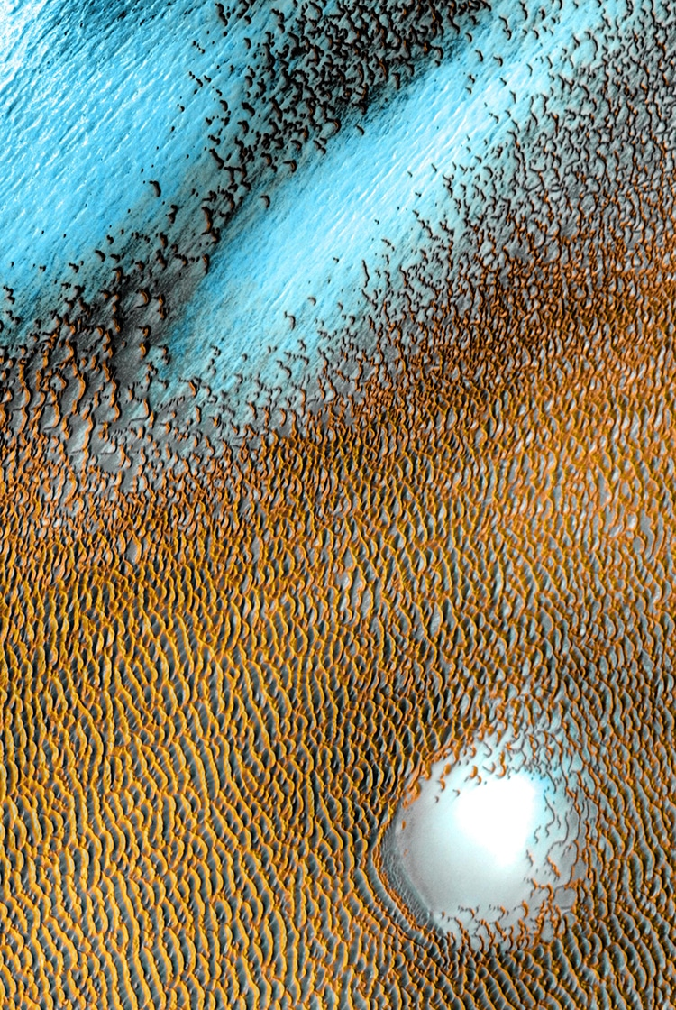 NASA Mars Odyssey Orbiter Image of Blue Dunes on Mars Surface