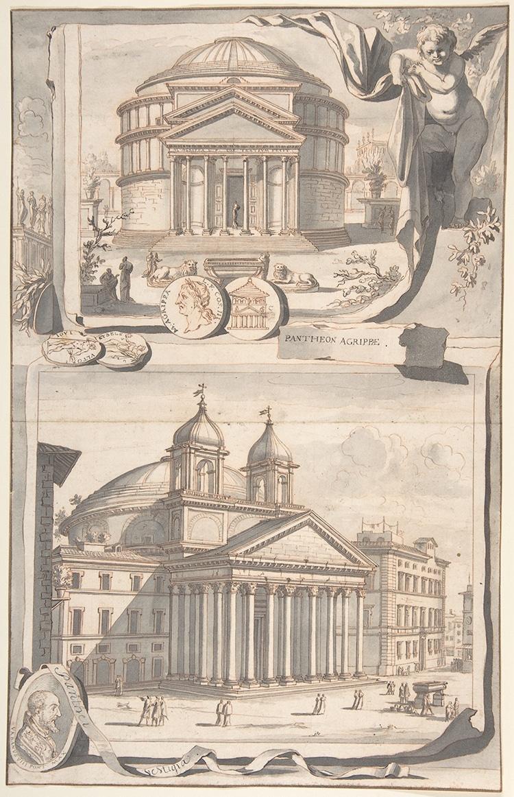 Bell Towers on pantheon Circa 1700