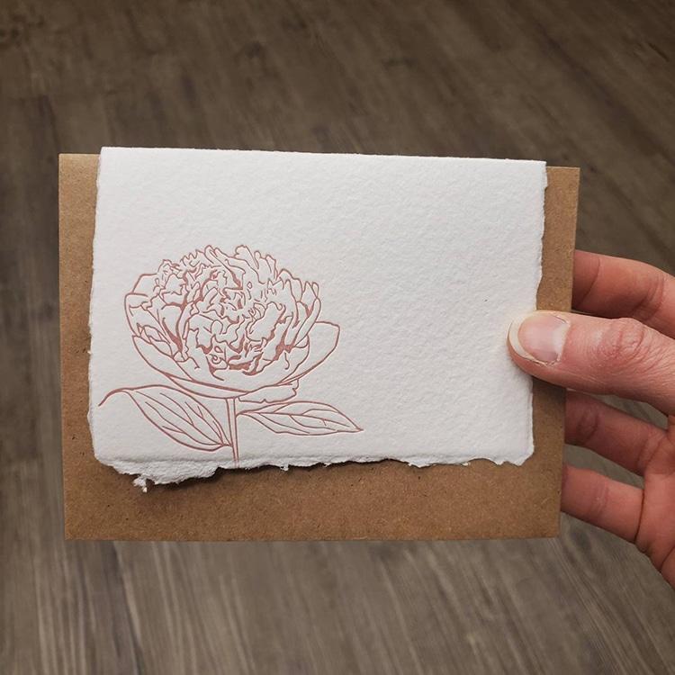 Peony Letterpress Card