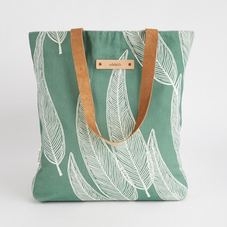 Personalized Tote Bag with Leather Handle