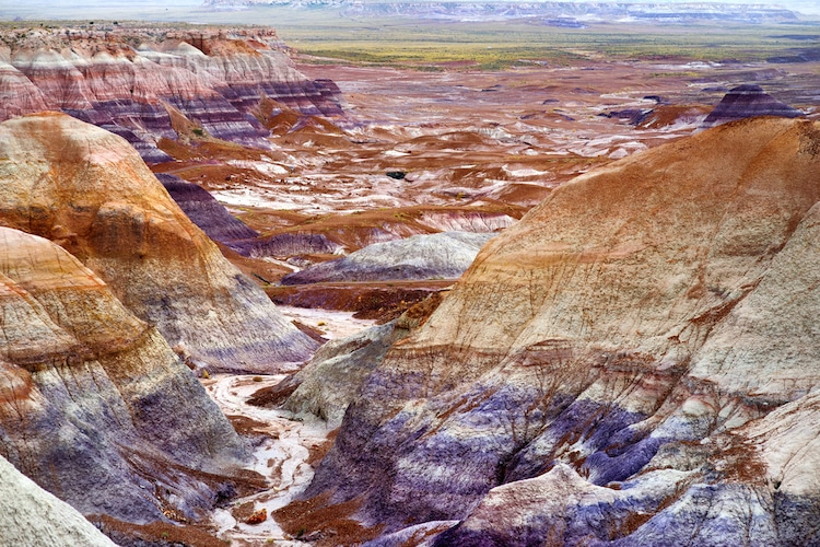 Aerial View of the Petrified Forest National Park in Arizona