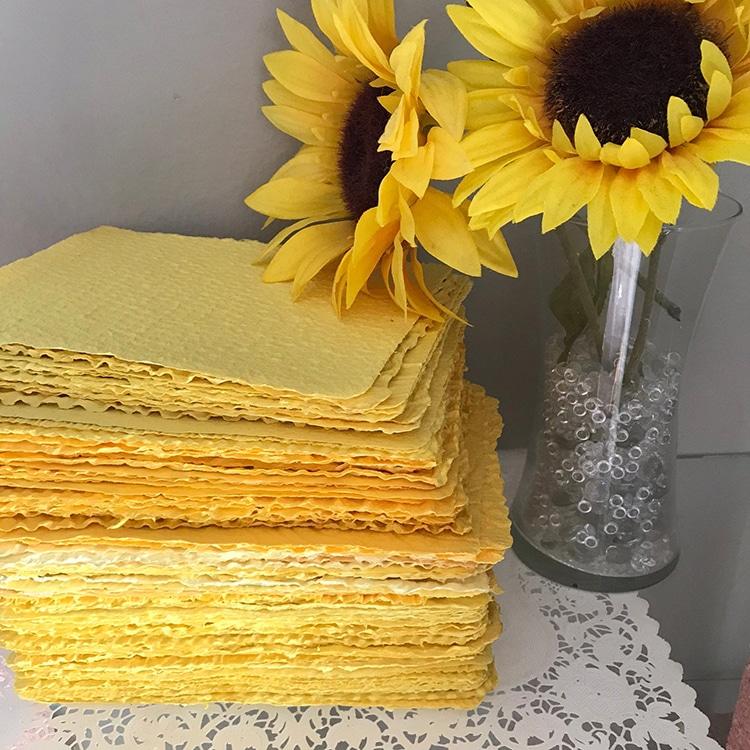 Textured yellow Handmade Recycled Paper