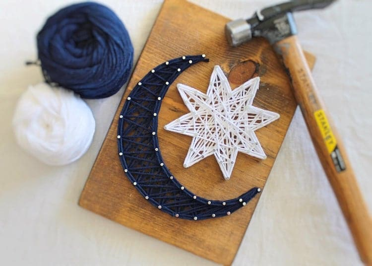 Moon and Stars String Art