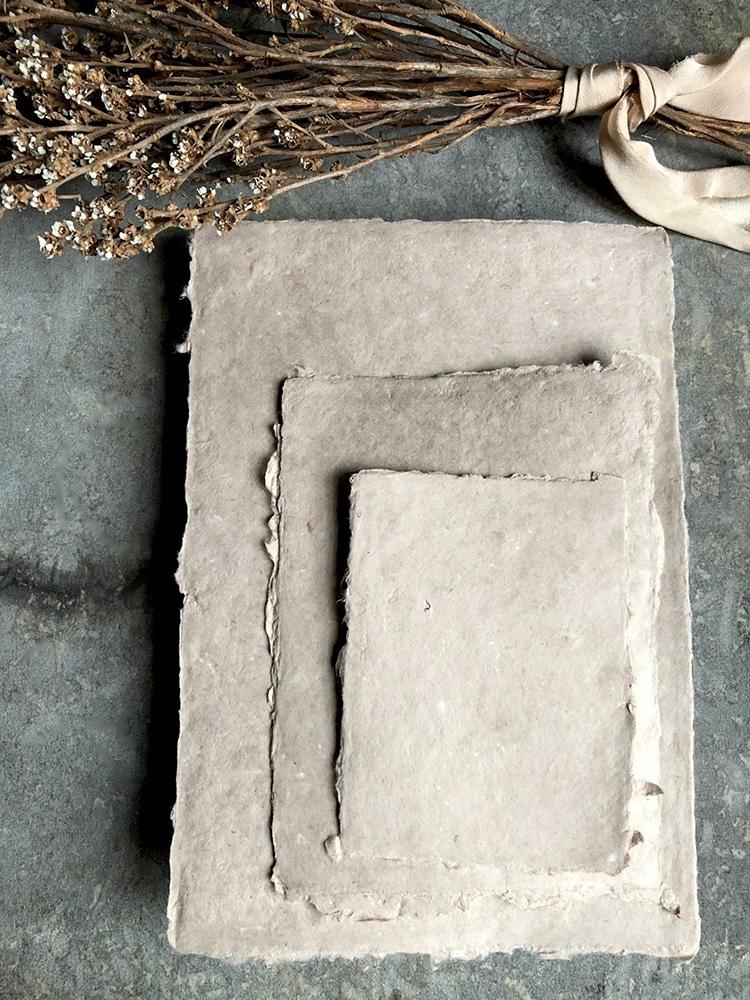 Taupe Handmade Historic Paper Rough Edge