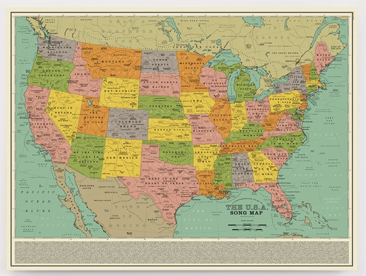 USA Songs Map Poster