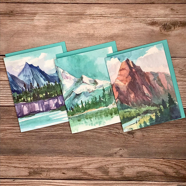 Watercolor Mountain greeting Cards Letters