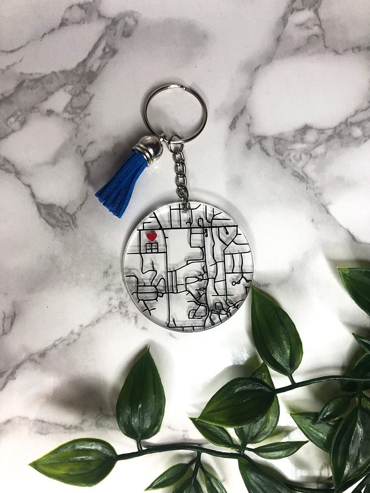 Where We Met Acrylic Map Keychain Gift