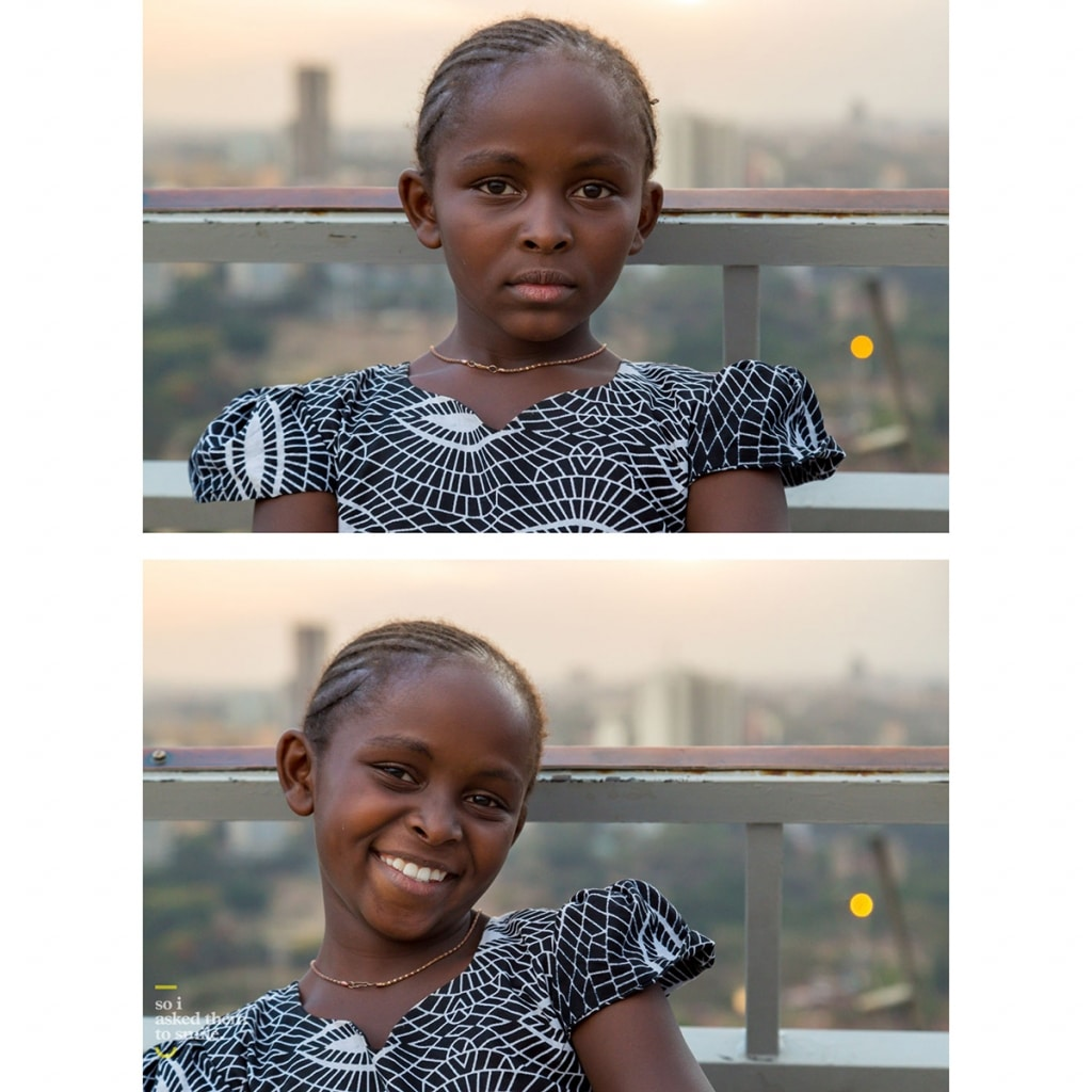 A young girl smiles at the photographer Jay Weinstein in Kenya.