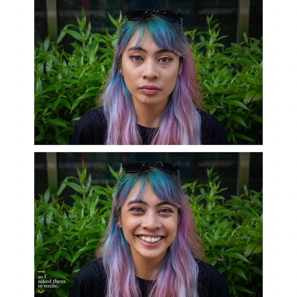A young woman with multi-colored hair is asked to smile.
