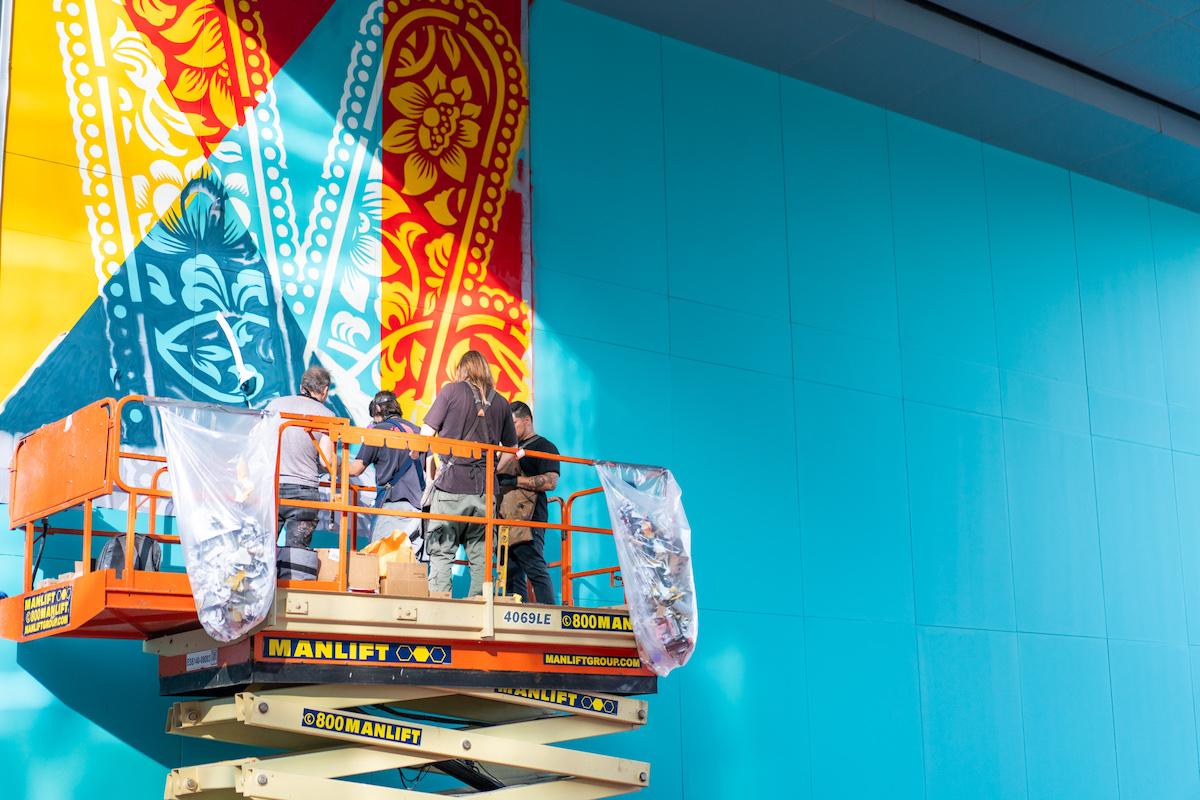 Shepard Fairey Creating Street Art