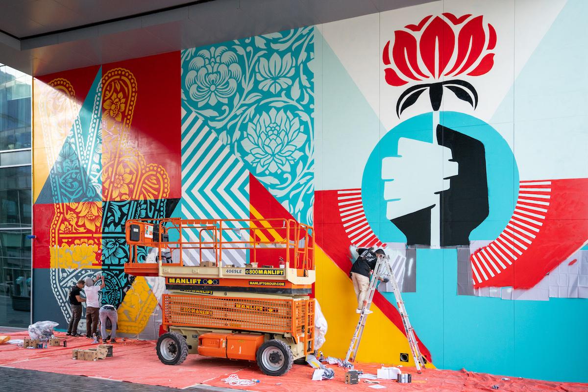 Work in Progress on Shepard Fairey Mural