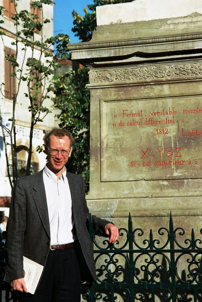 Andrews Wiles in Front of Statue of Fermat Whose Theorem He rRoved
