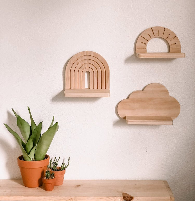 Wooden Wall Shelves Shaped Like Clouds and Rainbows