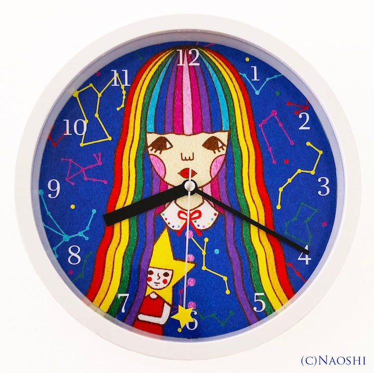 Illustration of a Girl in Background of a Wall Clock