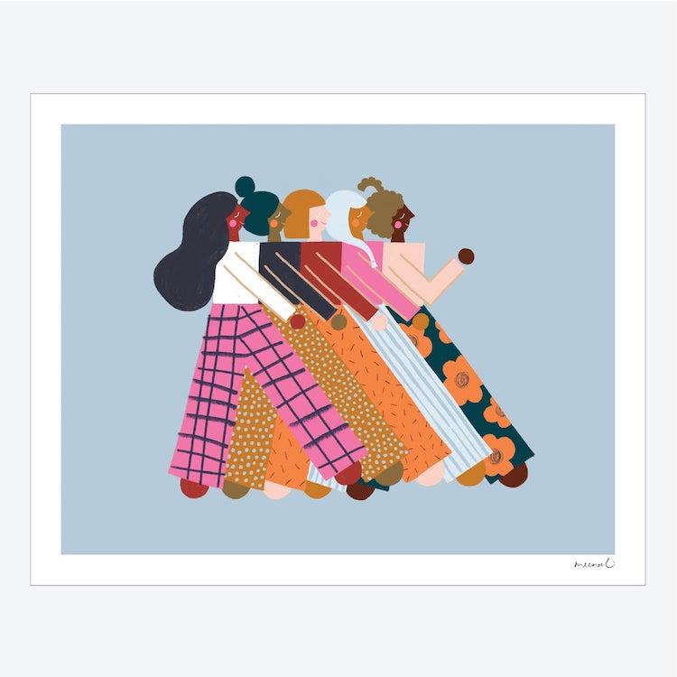 Print of Women Walking