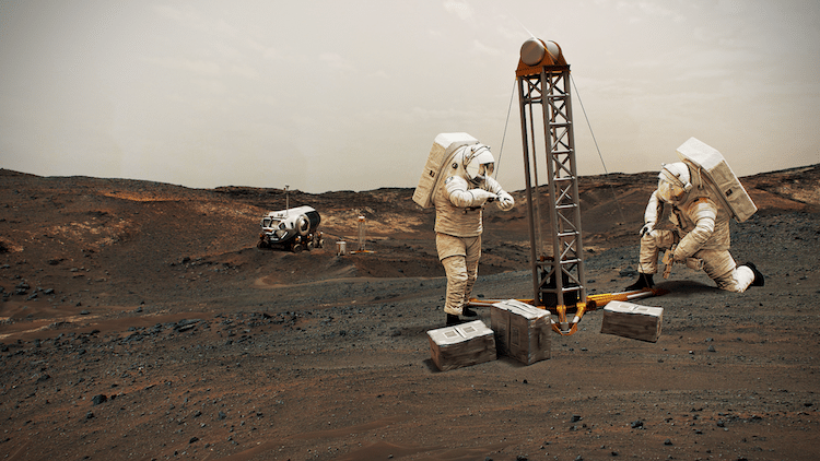 Illustration of astronauts on Mars
